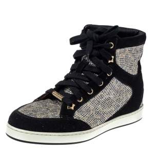 Jimmy Choo Black/Silver Suede And Glitter Tokyo Sneakers Size 35.5