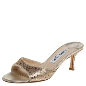 Jimmy Choo Gold Glitter And Leather Laser Cut Slide Sandals Size 37