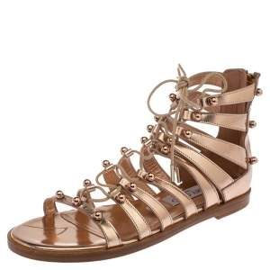 Jimmy Choo Rose Gold Leather Gigi Sandals Size 37.5