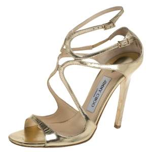 Jimmy Choo Gold Patent Leather Ivette Sandals Size 37.5