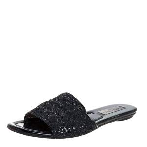 Jimmy Choo Metallic Black Glitter Nanda Flat Slides Size 39
