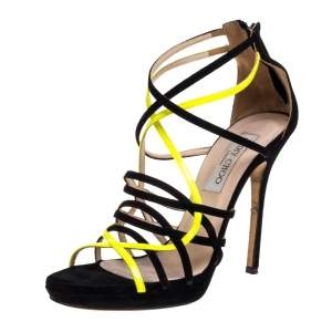 Jimmy Choo Yellow and Black Suede Myth Strappy Sandals Size 38.5