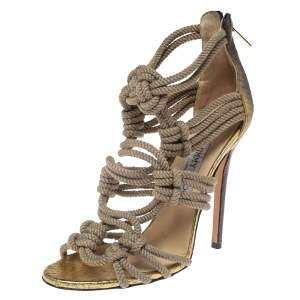 Jimmy Choo Gold/Beige Snake And Knot Rope Kanoder Sandals Size 38