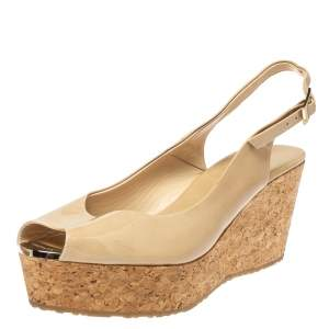 Jimmy Choo Beige Patent Leather Praise Cork Wedge Sandals Size 40