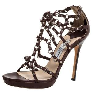 Jimmy Choo Brown Leather Liora Studded Caged Sandals Size 37.5