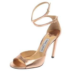 Jimmy Choo Metallic Rose Gold Leather Lane Ankle Strap Sandals Size 37