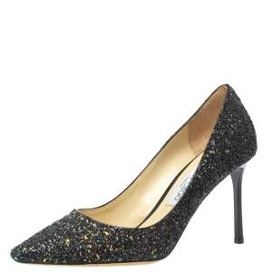 Jimmy Choo Multicolor Coarse Glitter Romy Pointed Toe Pumps Size 39