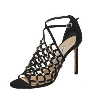 Jimmy Choo Black Suede Crystal Embellished Ankle Strap Sandals Size 37.5