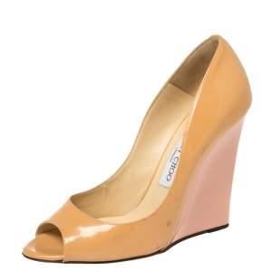 Jimmy Choo Beige Patent Leather Baxen Peep Toe Wedges Size 39