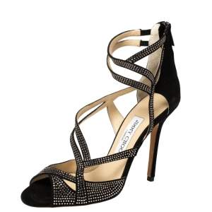 Jimmy Choo Black Dome Diamante Embellished Suede Sandals Size 37.5