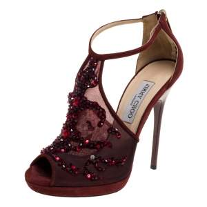 Jimmy Choo Burgundy Embellished Mesh And Suede Sandals Size 37.5