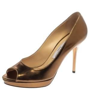 Jimmy Choo Metallic Gold Patent Leather Dahlia Peep Toe Platform Pumps Size 38