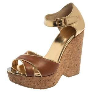 Jimmy Choo Brown/Metallic Gold Leather Pape Mirrored Cork Wedge Ankle Strap Sandals Size 37.5