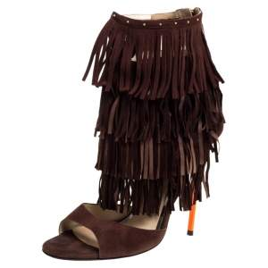 Jimmy Choo Brown Suede Fringe Raquel Sandals Size 39