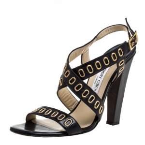 Jimmy Choo Black Leather Grommet Criss Cross Sandals Size 40