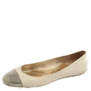 Jimmy Choo White Leather Waine Crystal Embellished Cap Toe Ballet Flats Size 36.5