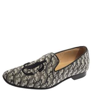 Jimmy Choo Silver/Black Monogram Glitter Leather Sache Smoking Slippers Size 37.5