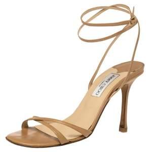 Jimmy Choo Beige Leather Juliet Ankle Wrap Sandals Size 39
