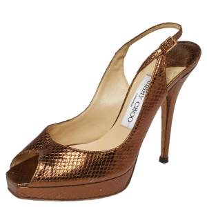 Jimmy Choo Metallic Bronze Snake Embossed Leather Elazer Sandals Size 37