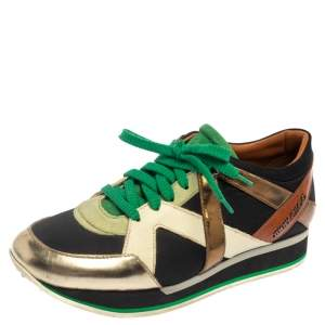 Jimmy Choo Multicolor Canvas and Leather London Sneakers Size 39