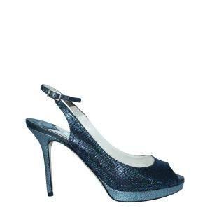Jimmy Choo Black Lame Fabric Nova  Sandals Size 38