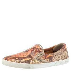 Jimmy Choo Brown Snakeskin Embossed Brooklyn Slip On Sneakers Size 38