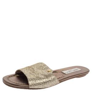 Jimmy Choo Metallic Lame Glitter Nanda Slide Sandals Size 36.5