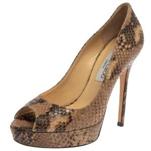 Jimmy Choo Two Tone Embossed Python Leather Dahlia Peep Toe Platform Pumps Size 37