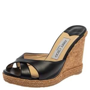 Jimmy Choo Black Leather Wedge  Platform Sandals Size 36