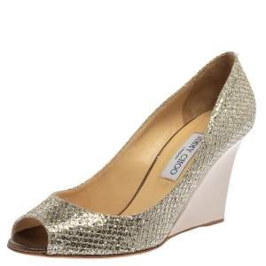 Jimmy Choo Metallic Silver Glitter Fabric Baxen Peep Toe Wedge Pumps Size 40