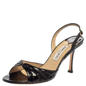 Jimmy Choo Black Patent Leather Slingback Sandals Size 40.5