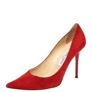 حذاء كعب عالي جيمي تشو ابيل سويدي أحمر مقاس 38.5