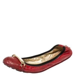 Jimmy Choo Red Patent Leather Wigmore Cap Toe Ballet Flats Size 39.5