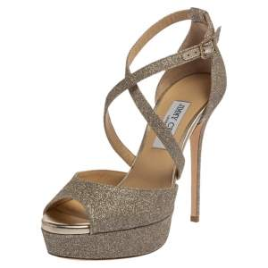 Jimmy Choo Gold Glitter Jenique Sandals Size 40