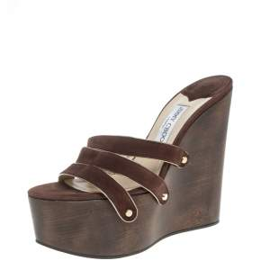 Jimmy Choo Brown Suede Leather Sallie Wedge Platform Slide Sandals Size 41