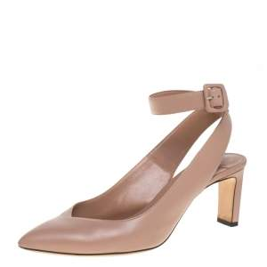 Jimmy Choo Beige Leather Lou Pointed Toe Ankle Strap Sandals Size 39.5