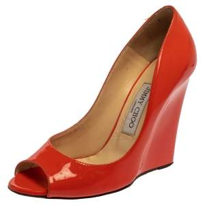 Jimmy Choo Orange Patent Leather Baxen Peep Toe Pumps Size 38.5