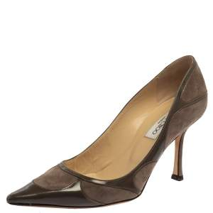 Jimmy Choo Dark Grey Suede And Patent Leather Pumps Size 39