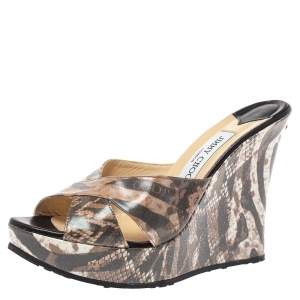 Jimmy Choo Multicolor Animal Print Leather Wedge Sandals Size 40