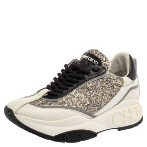 Jimmy Choo White/Sliver Leather And Glitter Raine Low Top Sneakers Size 37.5