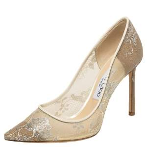 Jimmy Choo Cream Lace Romy Pointed Toe Pumps Size 38