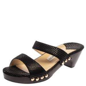 Jimmy Choo Black Python Embossed Leather Slides Size 37.5
