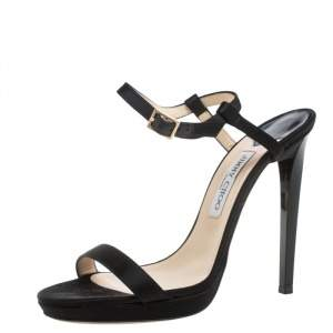 Jimmy Choo Black Satin Minny Ankle Strap Sandals Size 40