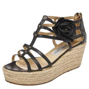 Jimmy Choo Black Leather Flower Embellished Wedge Strappy Sandals Size 37.5