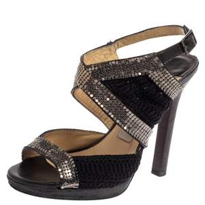 Jimmy Choo Black Crochet Fabric Embellished Slingback Sandals Size 37