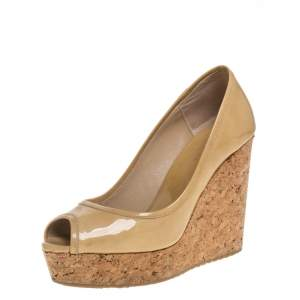 Jimmy Choo Beige Patent Leather Cork Wedge Peep Toe Pumps Size 36