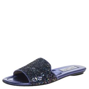 Jimmy Choo Metallic Purple Coarse Glitter Nanda Flat Slides Size 37
