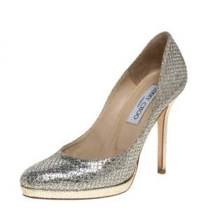 Jimmy Choo Metallic Silver Lame And Glitter Hope Pumps Size 36