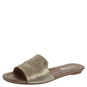 Jimmy Choo Metallic Silver/Gold Glitter And Lamé Nanda Flat Slides Size 38.5