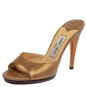 Jimmy Choo Gold Leather Slide Sandals Size 38